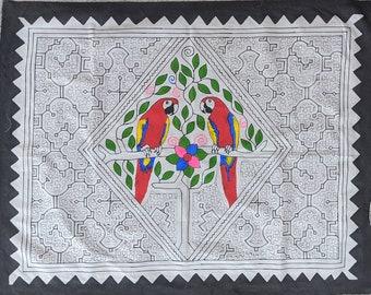 Large SHIPIBO birds of the  Amazonas Amazonia Amazon  Parrot colorful  design  PAINTED with natural dyes and acrylic   Kene.