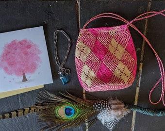 GIFT SET Shamanic Pagan Handmade smudging  fan woven medicine bag crystal necklace pop up card