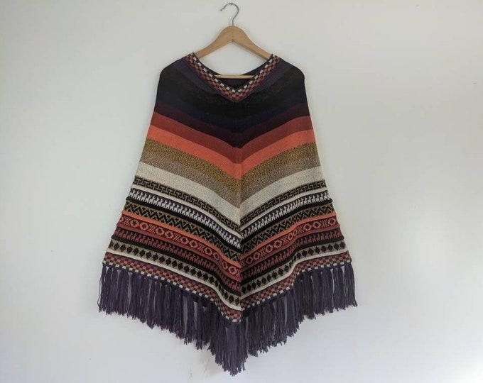 BABY AlPACA PONCHO colorful  Bohemian Boho look purple striped fringed  cape