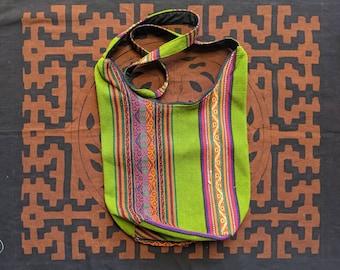 ANDEAN Medicine Hippie Boho shoulder HANDBAG flea market shopping bag  ecofriendly handmade with Aguayo wool fabric green