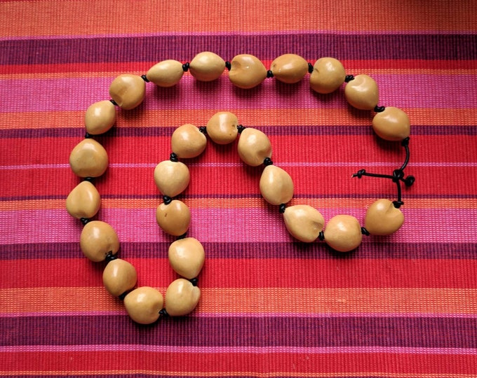 Natural Hawaian KUKUI NUTS beads and LEATHER   necklace handmade for shamanic healing ,good luck and protection