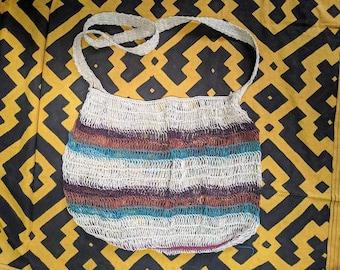 BOHO Hippie shoulder HANDBAG flea market shopping bag  ecofriendly handmade with  CHAMBIRA fibers