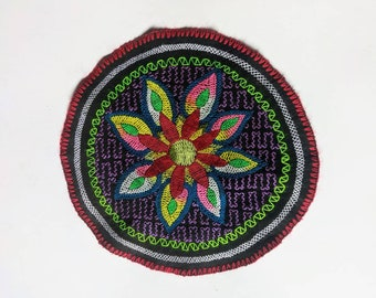 "9.5"" AYAHUASCA spirit SHIPIBO flower of Life round mandala  tapestry cloth patch"