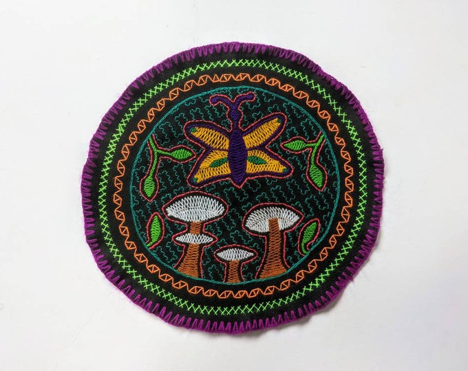 MAGIC MUSHROOMS SHIPIBO round tapestry flower of life  cloth patch