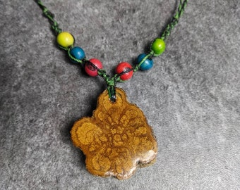 AYAHUASCA pendant with natural dyed accai seeds  weaved macramé necklace