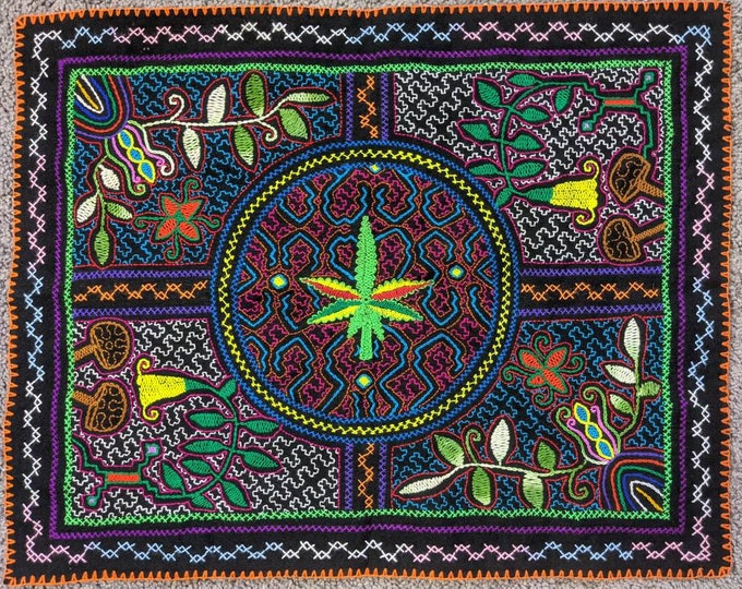 MEDICINAS CANNABIS psilocyban fungi magic mushrooms Ayahuasca Chacruna  SHIPIBO Tapestry shamanic cloth for altar shrine or wall hanging