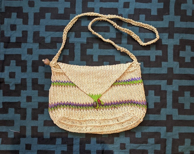 BOHO shoulder HANDBAG market shopping bag ecofriendly handmade with  CHAMBIRA fibers