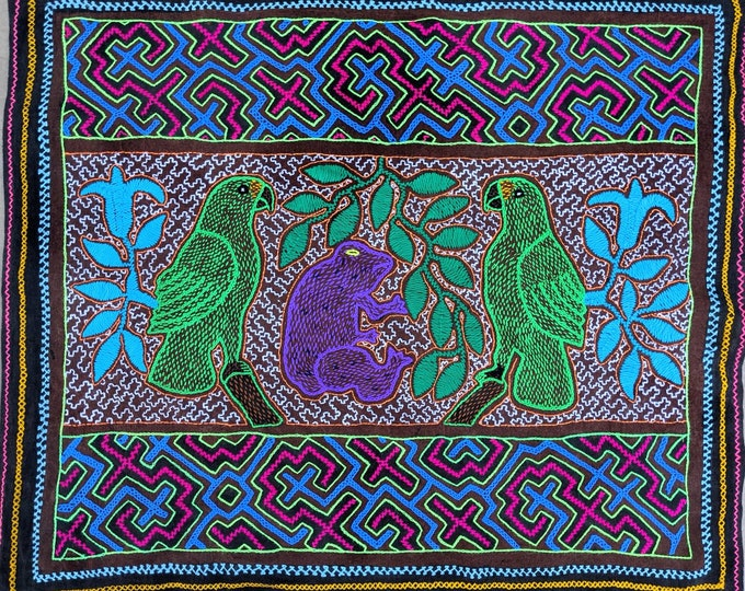 Large Amazon Fauna Spirit animals parrot sloth tapestry Maya Kené Ancestral Amazonian information Milenial design