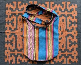 ANDEAN Medicine Hippie Boho shoulder HANDBAG flea market shopping bag  ecofriendly handmade with Aguayo wool fabric teal