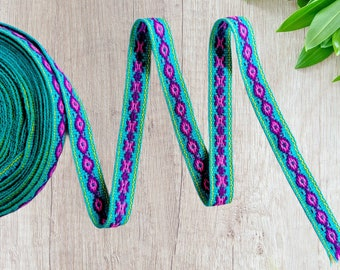 100 cms / 1.09 Yd Andean INKA PERUVIAN Bohemian wool woven ribbon  Handmade by loom 0.7 in / 1.8 cm