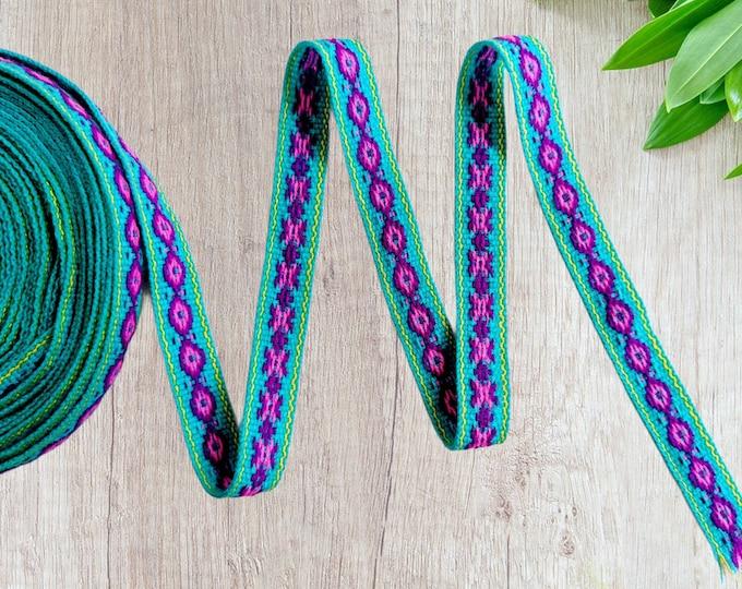 100 cms / 1.09 Yd Andean INKA PERUVIAN Bohemian wool woven ribbon  Handmade by loom 0.7 in / 1.8 cm