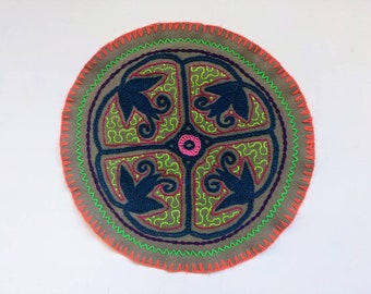 AYAHUASCA SHIPIBO CLOTH round patch healing art for  altar shrine  shamanic tapestry  26.7cm/10.5 in