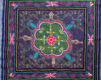 SHIPIBO ALTAR CLOTH Ayahuasca flower of Life Snake and butterfly  with Maya Kené Ancestral Amazonian design