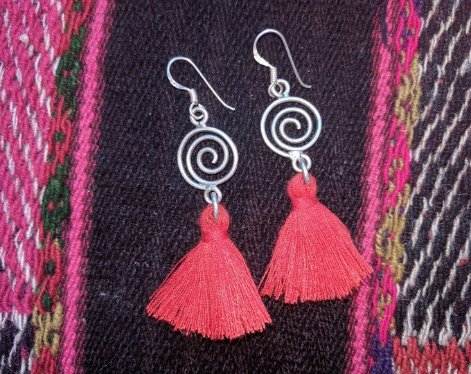 Antiqued Silver  925  Red tassel earrings with Peruvian PACHAMAMA charm