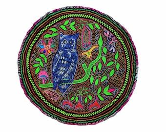 LARGE SHIPIBO MANDALA embroidered tapestry  table cloth sacred Owl Spirit  animal  80cm/31.5 in