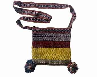 CUZCO Q'ERO BAG   Medicine crossbody handbag Hippie Boho shoulder  flea market shopping ecofriendly handmade of wool fabric teal