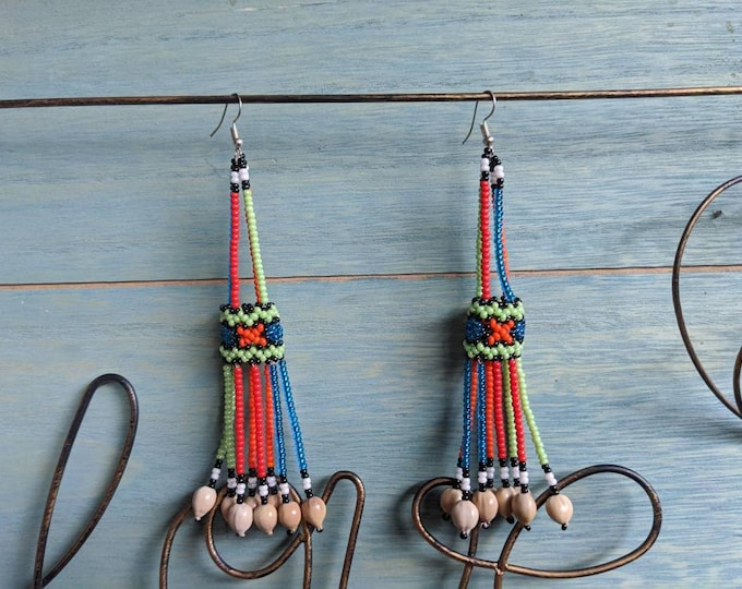 Aunthentic SHIPIBO  long beaded with Amazonian seeds  EARRINGS