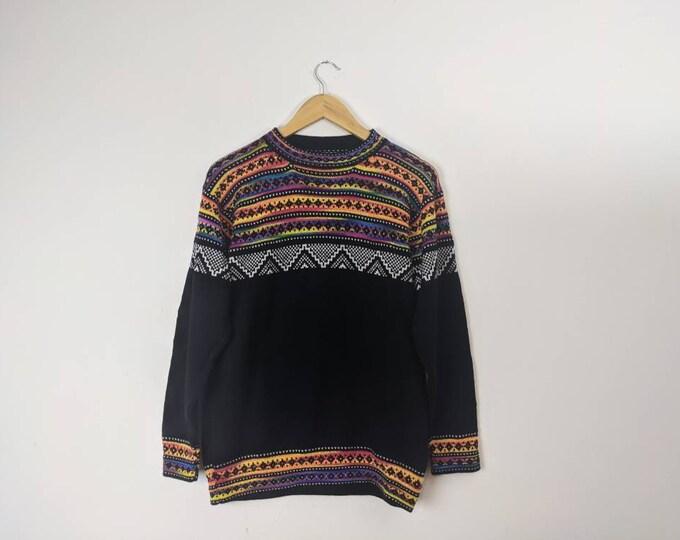 UNISEX ALPACA SWEATER crew neck very soft hypoallergenic colorful Inka Andean Peruvian design black pullover