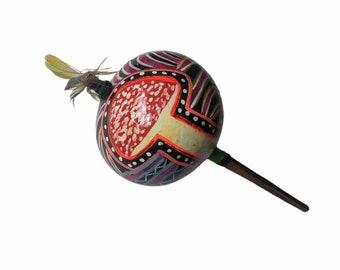 Magic MUSHROOMS  SHIPIBO gourd MARACA rattle painted Amanita Muscaria psychedelic art