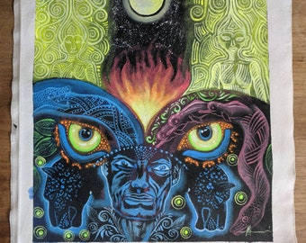ORIGINAL  AYAHUASCA  Psychedelics vision art from indigenous artist Ahuanarí