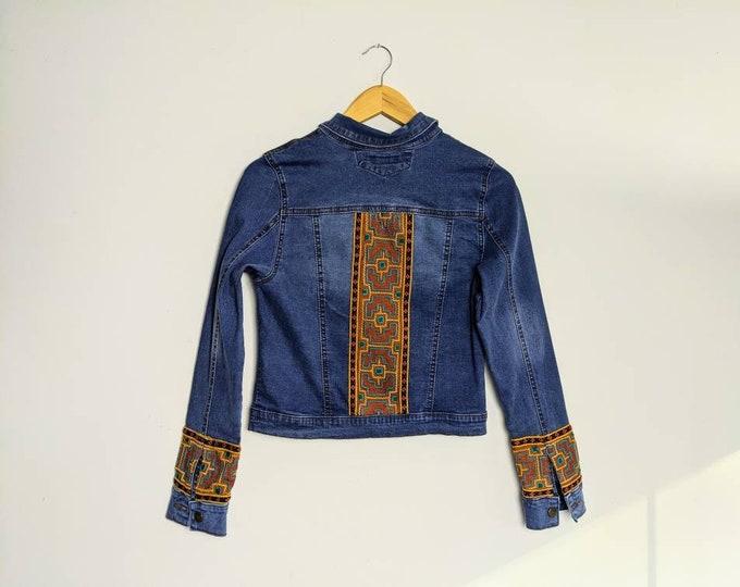 REWORKED SHIPIBO distressed denim jacket  women's size small