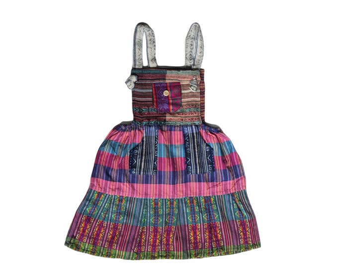 ETHNIC OVERALL DRESS  South American folk bohemian design colorful rainbow Toddler   girls skirt 4Tto 5T