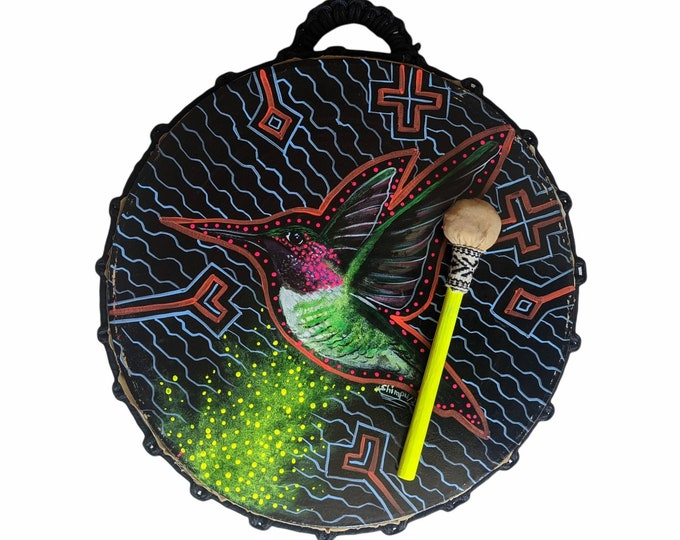 Shamanic DRUM and drumstick  painted by artist Shimpu Psychedeliv HUMMINGBIRD spirit animal   15in 38 cms