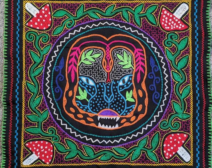 SHIPIBO  tapestry Jaguar Cat Anaconda snake Amanita Muscaria Mushrooms Spirit  shrine altar sacred cloth