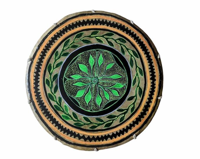 Shamanic SHIPIBO Drum with drumstick double sided Psychedelic art ANACONDA  AYAHUASCA spirit painted by Shipibo artist Shimpu  15in 38 cms