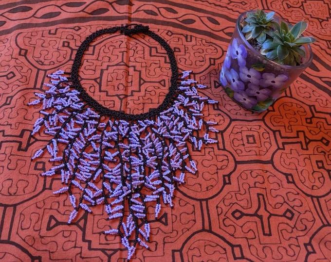 SHIPIBO BIB NECKLACE authentic beaded  cascade  design