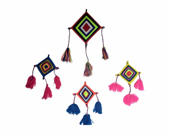 GODs EYE SHIPIBO Ojo de Dios hanging wall decoration set of 4  for protection and good fortune
