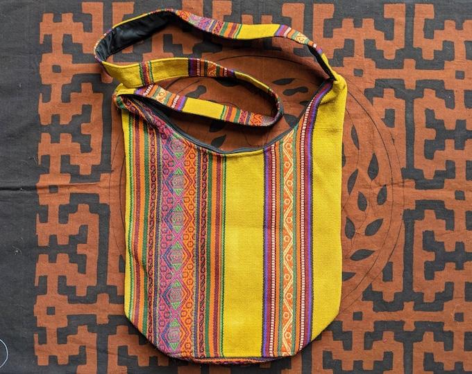 ANDEAN Medicine Hippie Boho shoulder HANDBAG flea market shopping bag  ecofriendly handmade with Aguayo wool fabric yellow mustard