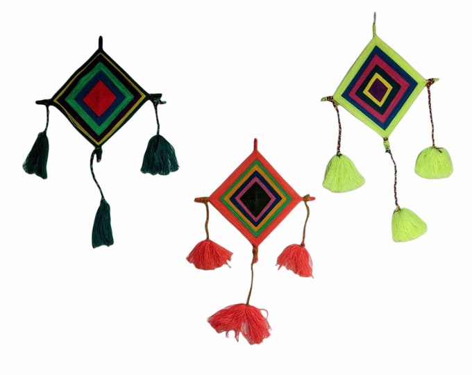 GODs EYE SHIPIBO Ojo de Dios hanging wall decoration set of 3  for protection and good fortune