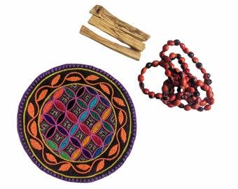 GIFT SET Shamanic Pagan Handmade Shipibo medicine mandala palo santo and kuripe macramé necklace