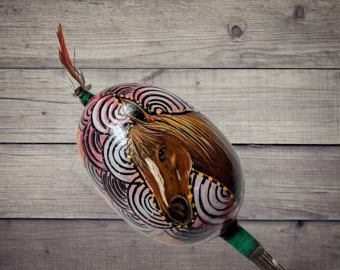 Large SHIPIBO gourd MARACA rattle shaker painted HORSE flower of life  psychedelic art