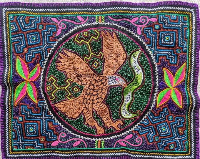 SHIPIBO golden EAGLE tapestry Spirit Animals  inspired on  Ayahuasca vine vision shrine altar sacred cloth