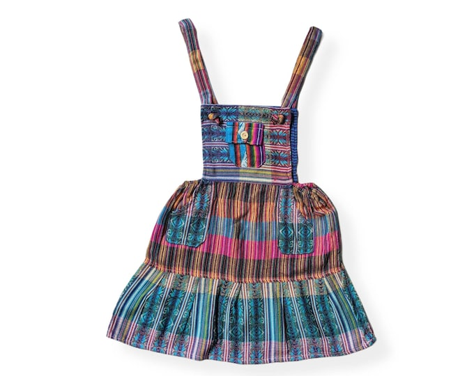 ETHNIC OVERALL DRESS  South American folk bohemian design colorful rainbow  Toddler girls skirt 3T to 4T