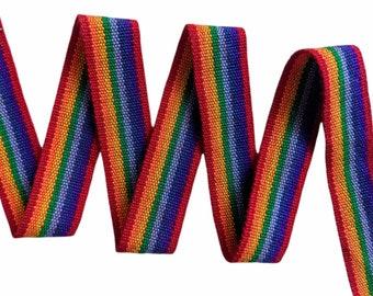 3.5 or 5 meters of Andean INKA PERUVIAN Bohemian wool woven ribbon Rainbow  Handmade by loom 1.08 in / 3cm