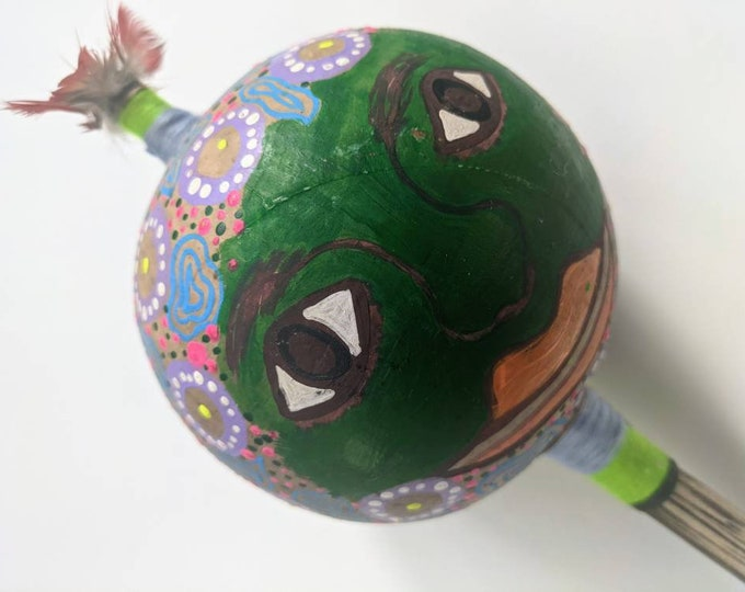 Giant SHIPIBO gourd MARACA rattle shaker painted  Ayahuasca keeper of the forest  psychedelic art