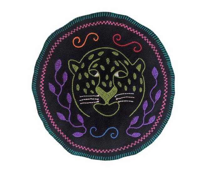 SHIPIBO Guardian JAGUAR SPIRIT Animal   round tapestry cloth patch