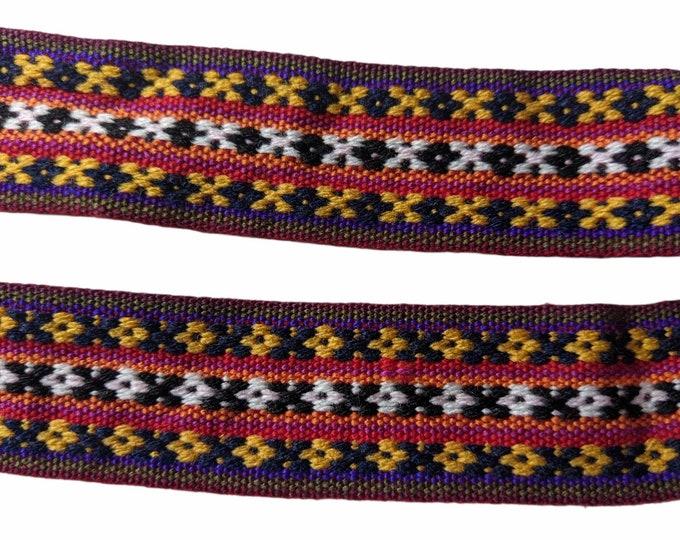 3 or 5 meters Andean INKA PERUVIAN Bohemian wool woven ribbon  Handmade by loom 1.5 in / 4 cm