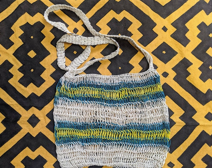HEMP shoulder HANDBAG flea  market Boho shopping bag  ecofriendly handmade with  CHAMBIRA fibers boho hippie style