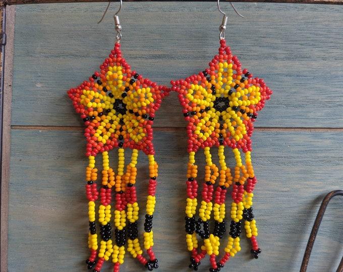 SHIPIBO long EARRINGS AYAHUASCA beaded ancestral design mandala pattern