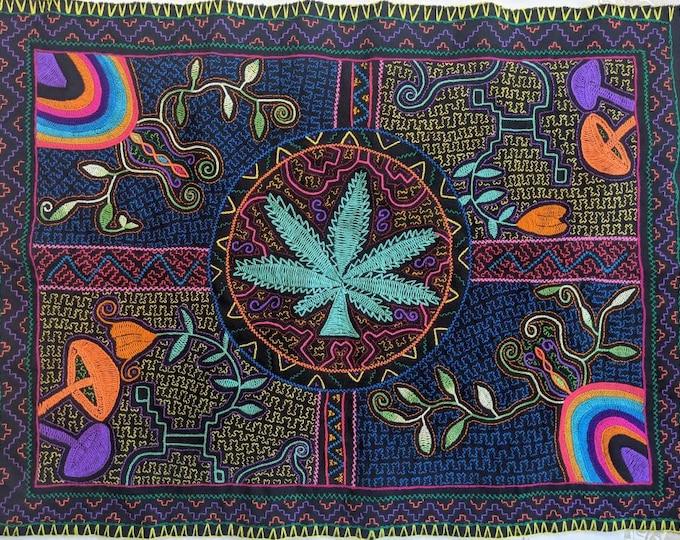 CANNABIS MUSHROOMS SHIPIBO tapestry altar shamanic cloth wall hanging home decor