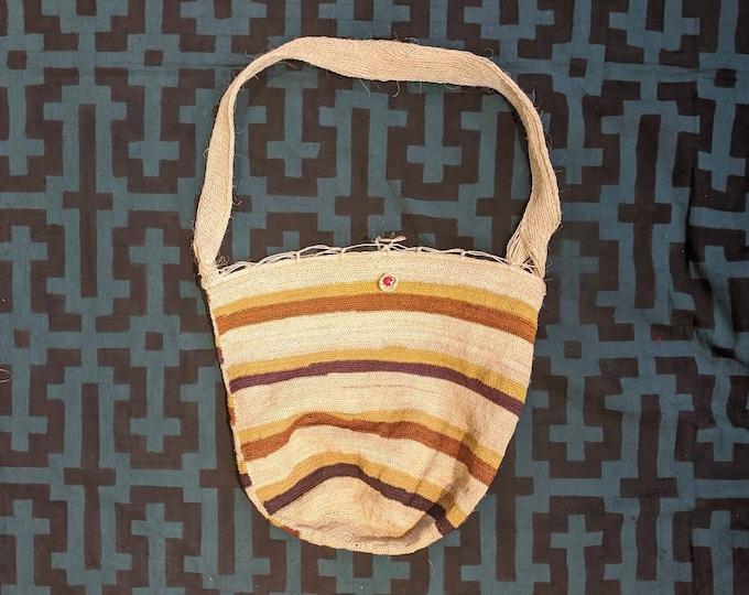 HEMP shoulder HANDBAG market shopping bag  ecofriendly handmade with  CHAMBIRA fibers hippie boho style