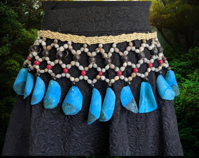 AUTHENTIC SHAMANIC Tribal BORA macrame belt, necklace or rattle accesorie