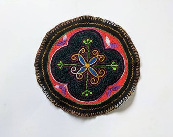 AYAHUASCA SHIPIBO CLOTH round patch healing art for  altar shrine  shamanic tapestry  26.7cm/10.5 in