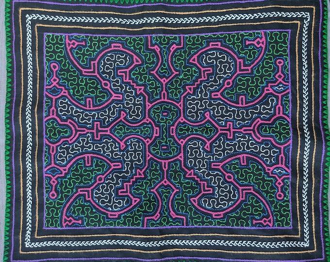 "SHIPIBO Ceremonial cloth Maya Kene ancestral information inspired on AYAHUASCA vision hand embroidered 17""x14"" 43x35.5cms"
