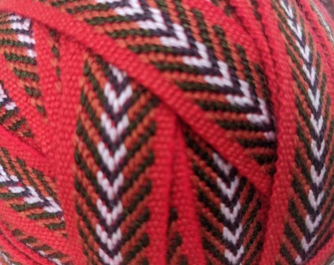 3 or 5 Andean INKA PERUVIAN Bohemian wool woven ribbon  Handmade by loom 1 in /2.5 cm