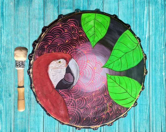 Shamanic DRUM and drumstick  painted by artist Shimpu Psychedelic art  GUACAMAYO MACAW bird spirit animal   15in 38 cms